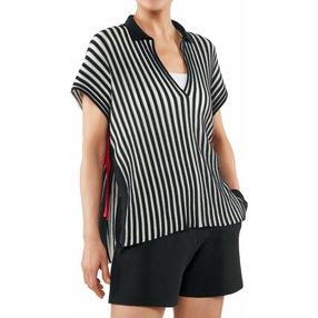 FALKE Damen Polo-Shirt, L, Blau, Streifen, Baumwolle, 64072-643704