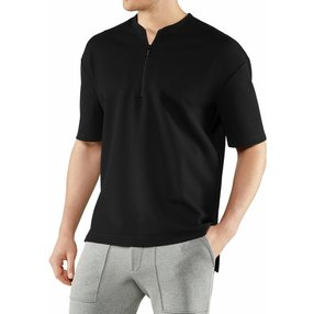 FALKE Herren T-Shirt Henley-Kragen, L, Schwarz, Uni, Baumwolle, 62046-300004