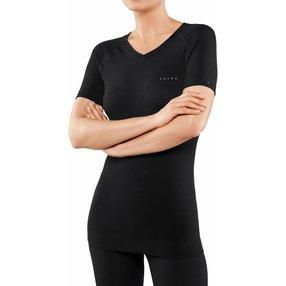 FALKE Wool-Tech Light Damen Kurzarmshirt, L, Schwarz, Uni, Schurwolle, 33460-300004