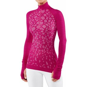 FALKE Damen Langarmshirt Wool-Tech, S, Pink, Schurwolle, 33219-828402