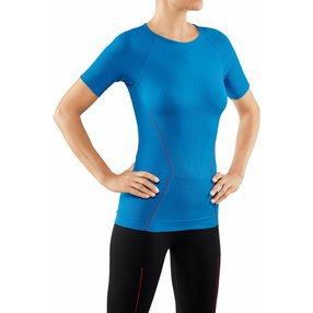 FALKE Damen Kurzarmshirt Warm, L, Blau, Uni, 39113-640704