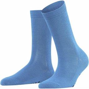 FALKE Family Damen Socken, 39-42, Blau, Uni, Baumwolle, 47675-653402