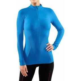 FALKE Damen Langarmshirt Warm, M, Blau, Uni, 39127-640703