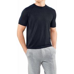 FALKE Herren T-Shirt Rundhals, M, Blau, Uni, Kaschmir, 60157-643703