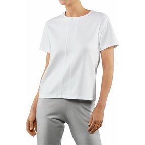 FALKE Damen T-Shirt Rundhals, M, Weiß, Uni, Baumwolle, 66118-200003
