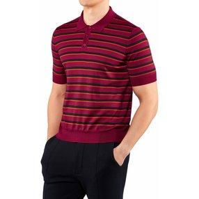 FALKE Herren Polo-Shirt, L, Pink, Streifen, Schurwolle, 60134-831004
