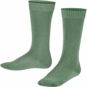 FALKE Comfort Wool Kinder Kniestrümpfe, 23-26, Grün, Uni, Schurwolle, 11488-701602