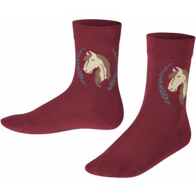 FALKE Horse Kinder Socken, 23-26, Rot, Motiv, Baumwolle, 12185-883002