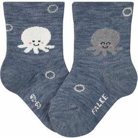 FALKE Squid Baby Socken, 74-80, Blau, Motiv, Baumwolle, 12986-666003
