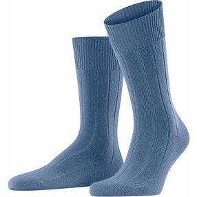 FALKE Lhasa Rib Herren Socken, 43-46, Blau, Uni, Wolle, 14423-684503