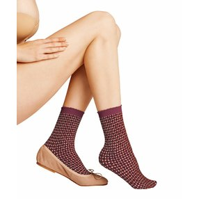 FALKE Tricot Eyelet 50 DEN Damen Socken, 39-42, Rot, Raute, 41448-841302