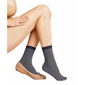 FALKE Tricot Eyelet 50 DEN Damen Socken, 35-38, Blau, Raute, 41448-641401