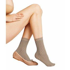 FALKE Tricot Eyelet 50 DEN Damen Socken, 39-42, Braun, Raute, 41448-503202