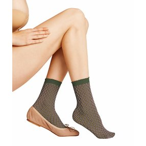 FALKE Tricot Eyelet 50 DEN Damen Socken, 35-38, Grün, Raute, 41448-727201