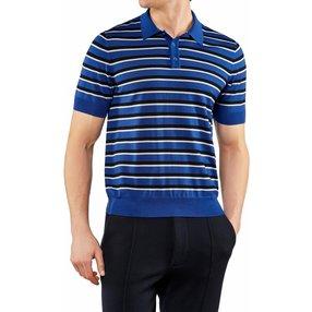 FALKE Herren Polo-Shirt, XXL, Rot, Streifen, Schurwolle, 60134-659506