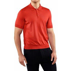 FALKE Herren Polo-Shirt, L, Orange, Uni, Schurwolle, 60133-841704