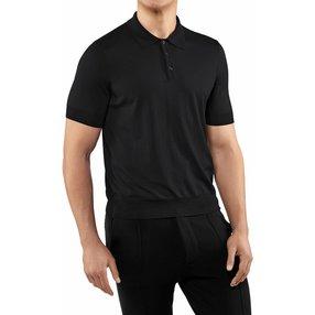 FALKE Herren Polo-Shirt, M, Schwarz, Uni, Schurwolle, 60133-300003