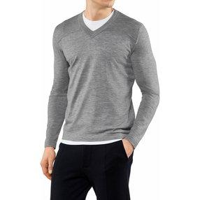 FALKE Herren Pullover V-Ausschnitt, XXL, Grau, Uni, Kaschmir, 60158-340006