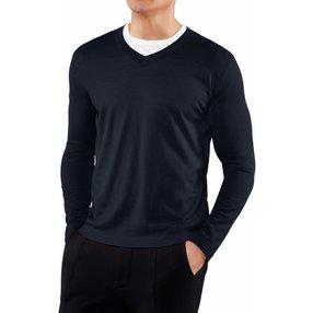 FALKE Herren Pullover V-Ausschnitt, XXL, Blau, Uni, Kaschmir, 60158-643706