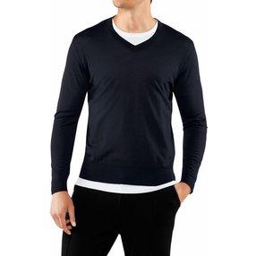 FALKE Herren Pullover V-Ausschnitt, M, Blau, Uni, Schurwolle, 60126-643703