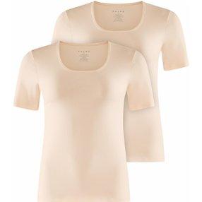 FALKE 2-Pack Damen Kurzarmshirt, XXL, Beige, Uni, Baumwolle, 69020-401606