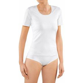 FALKE 2-Pack Damen Kurzarmshirt, L, Weiß, Uni, Baumwolle, 69020-200004