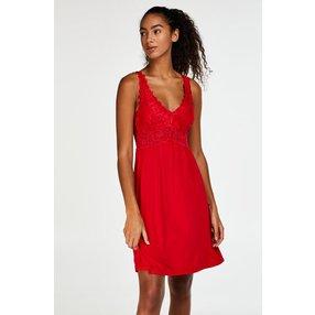Hunkemöller Slipdress Modal Lace mit Spitze Rot