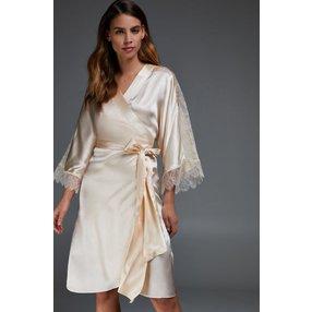 Hunkemöller Kimono aus Seide und Spitze Beige