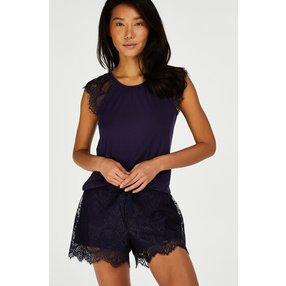 Hunkemöller Pyjama-Shorts aus Spitze Blau