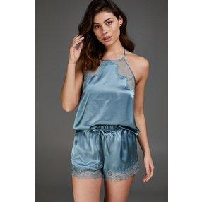 Hunkemöller Pyjama-Short Seide Blau