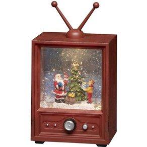 Konstsmide 4372-000 Fernseher mit Weihnachtsmann und Kind Warm-Weiss LED Bunt wählbare Energieverso