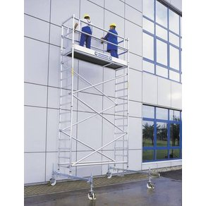 Günzburger Steigtechnik 170535 Aluminium Gerüst fahrbar Arbeitshöhe max 7 5m Silber 168kg
