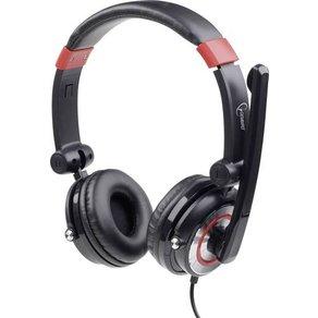 Gembird PC-Headset USB schnurgebunden MHS-5 1-001 Over Ear Schwarz Rot