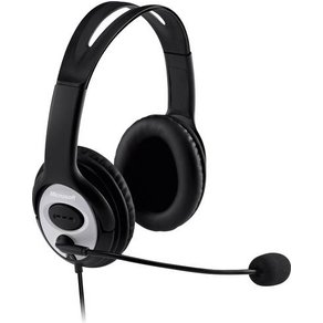 Microsoft PC-Headset USB schnurgebunden Stereo LifeChat LX-3000 Over Ear Schwarz Silber