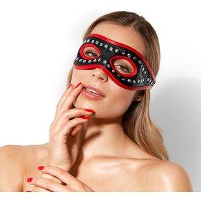 Rimba Nieten-Leder-Maske mit roten Säumen