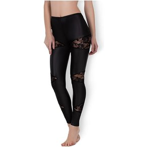 Allure 'Lace & Wet Look Leggings'