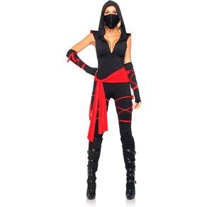Leg Avenue Ninja-Catsuit mit Kapuze, 5 Teile