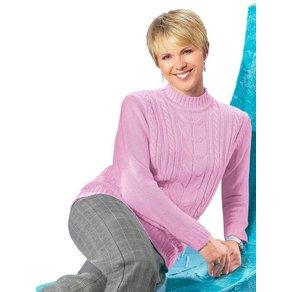 Classic Basics Pullover mit Zopfmuster im Vorderteil