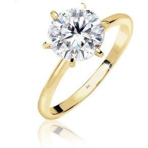 Elli Ring Verlobung Solitär Zirkonia Funkelnd 375 Gelbgold