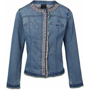 heine CASUAL Jeansjacke mit Perlen und Strasssteinen