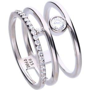 diamonfire Ring 925 Sterling Silber rhod 6x weisse Zirkonia