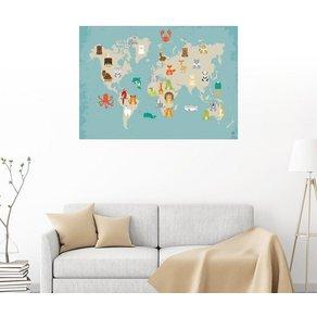 Posterlounge Wandbild Petit Griffin Weltkarte mit Tieren für das Kinderzimmer
