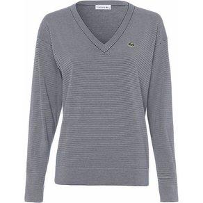 Lacoste V-Ausschnitt-Pullover mit modischem Ringeldesign