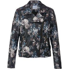 Angel of Style by Happy Size Lederimitat-Jacke im Biker-Stil mit Blumen-Print