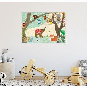 Posterlounge Wandbild GreenNest Bär Fuchs Eule im Kinderzimmer