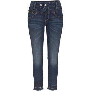 Herrlicher Slim-fit-Jeans BIJOU CROPPED High Waist mit offenen ausgefransten Saumabschlüssen