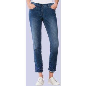Alba Moda Jeans mit tonigem Spitzenbesatz und Schmuckperlen