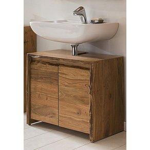 Kasper-Wohndesign Badezimmer Waschbecken-Unterschrank Akazie Massiv-Holz Live Edge