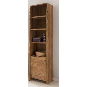 Kasper-Wohndesign Badezimmer Hochschrank Akazie Massiv-Holz Live Edge