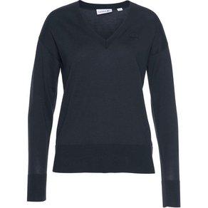 Lacoste V-Ausschnitt-Pullover mit tonigem Logopatch